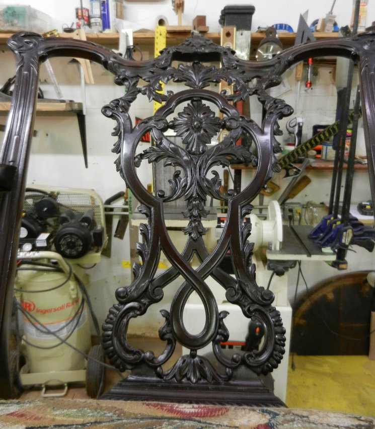 19th Century Chippendale Arm Chair Back Badly Broken $375.00